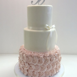 Fondant & buttercream rosette wedding cake