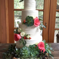 Pleated buttercream wedding cake