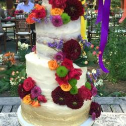 Semi Naked wedding cake with gold