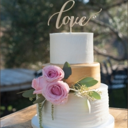 Buttercream and gold wedding cake