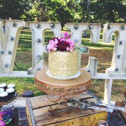 Edible Gold Sequins Wedding Cake