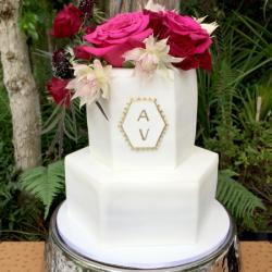 Hexagon cake with monogram