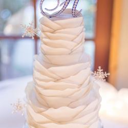 Winter themed fondant wedding cake