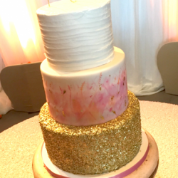 Water color and gold sequin cake