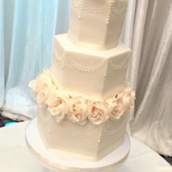 Hexagon fondant wedding cake