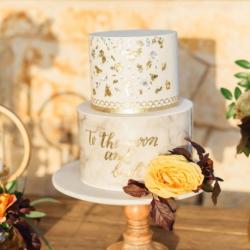 Fondant and gold leaf wedding cake