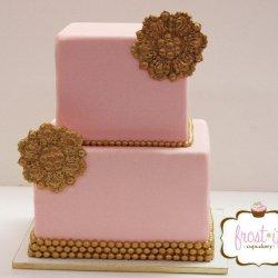 pinkandgoldweddingcake