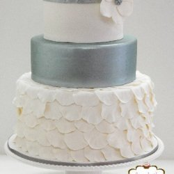 3 tier silver and white wedding cake