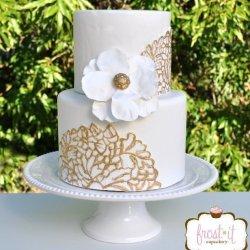 White & Gold Fondant Wedding Cake