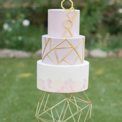 Fondant geometric watercolor cake