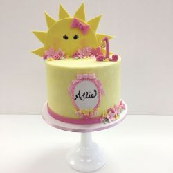 Buttercream birthday cake with fondant details