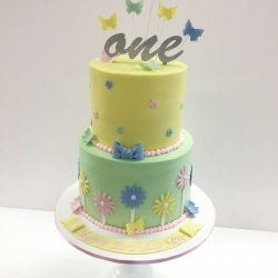 Buttercream birthday cake with fondant details