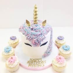 Unicorn Cake with Custom Cupcakes