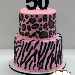Pink Cheetah & Zebra print cake