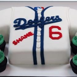 Custom fondant Dodger jersey cake