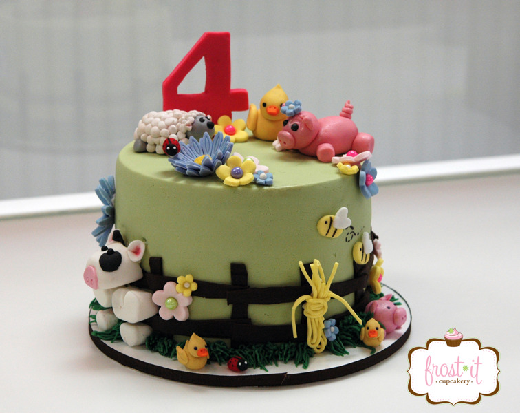 "6"" fondant farm animal cake with handmade fondant decorations.  As pictured $175"