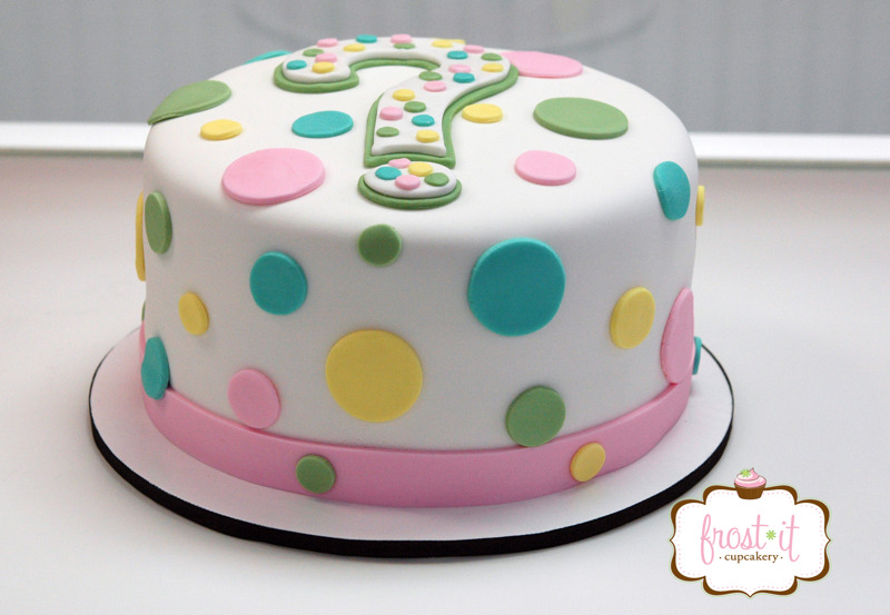 "8"" fondant gender reveal cake.  As pictured $155"