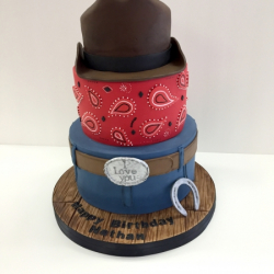 Carved western theme cake
