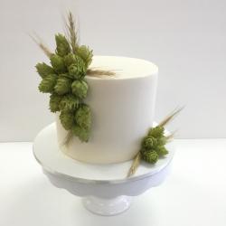 Fondant grooms cake with fresh hops
