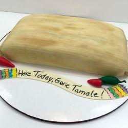 Fondant tamale birthday cake