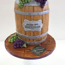 Custom carved wine barrel birthday cake
