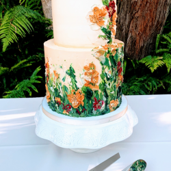 Smooth Buttercream with Palette knife buttercream painting