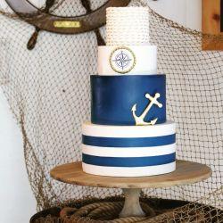 Fondant Nautical Wedding Cake