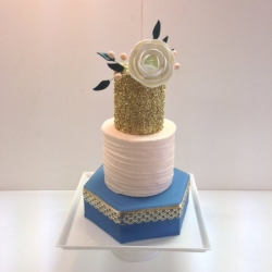 Peach & Blue Wedding Cake