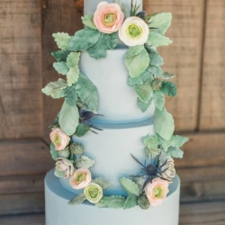 Blue Fondant Wedding Cake with Sugar Flowers