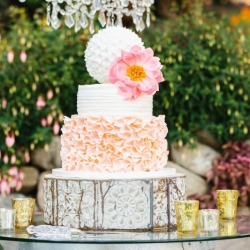 Fondant ruffle and buttercream Wedding Cake